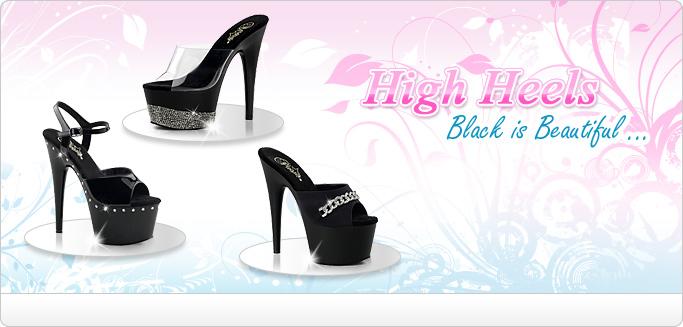 High Heels - Plateau Heels und Lack Heels im eleganten Schwarz