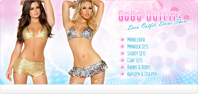 GoGo Outfits - Fashion f�r Tabledance & Shows - Minikleider, Minirock Sets, Shorty Sets, Chaps, Bikinis