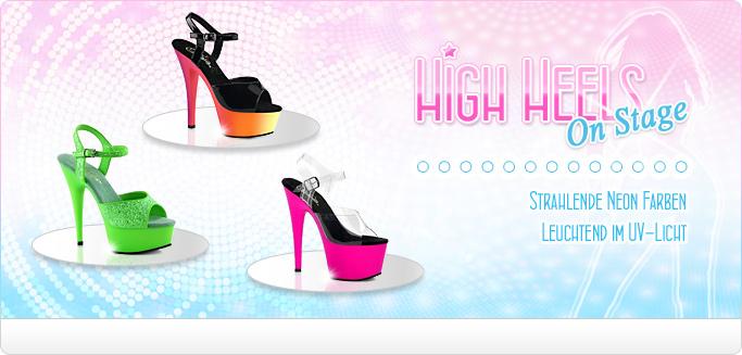 UV-Licht aktive High Heels für den ganz großen Auftritt. Entdecke Plateau Pantoletten & Sandaletten in vielen strahlenden Neon Farben.