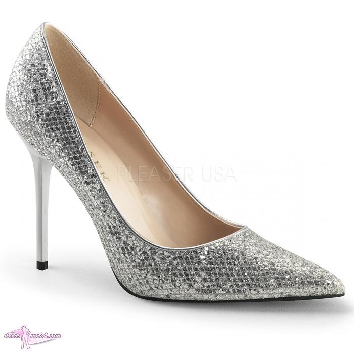pumps classique 20 silber glitter shoes pumps high