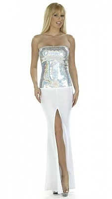 Abendkleid Glamour Lady gold/weiss