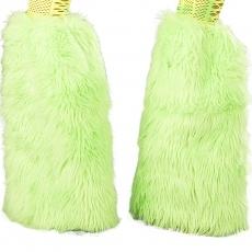 Kunstpelz Beinstulpen UV neon grün