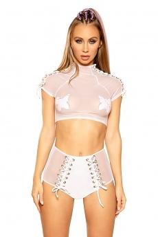 Mesh Top & Shorts White/Silver