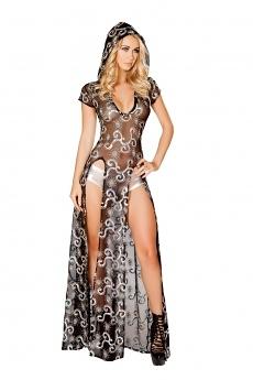 Pailletten Kleid mit Kapuze