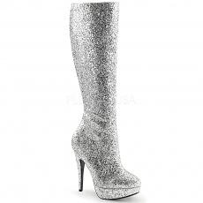Plateau Glitter Stiefel Lolita-300G silber