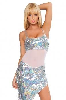 Sexy Minikleid Disco Girl - silber