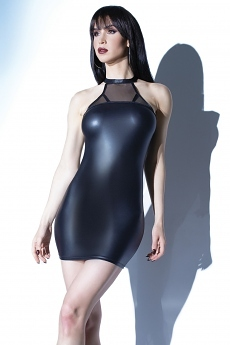 Wetlook Minikleid schwarz matt