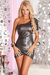 Asymetrisches Minikleid Hot Candy - silber