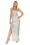 Elegantes Pailletten Abendkleid silber