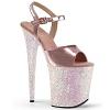 Glitter Plateau Sandalette Flamingo-809LG silber
