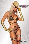 GoGo Bikini in Wickeloptik gold/schwarz