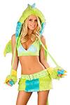 Grüner Drache Kostüm Minirock Set  - Premium Qualität