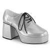 Herren Disco Plateau Schuhe 70er silber