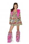 Hippie Minikleid Peace inklusive Stulpen