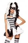 Jester Clown Kostüm schwarz weiß