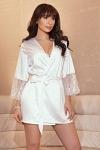Kimono Satin weiß Hochzeit Bride