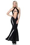 Langes Wetlook Kleid mit Herzausschnitt