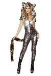 Leopard Kostüm Silber - Anzug mit Kapuze