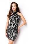 Neckholder Pailletten Jersey Kleid