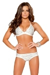 Strass GoGo Shorts Set weiss