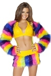Kunstpelz Schulterj�ckchen Rainbow Girl