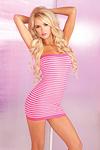 Sexy Minikleid pink Streifen