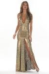 Leopard Abendkleid - goldmetallic