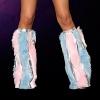 Gestreifte Kunstpelz Beinstulpen baby blau/baby pink