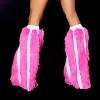 Gestreifte Kunstpelz Beinstulpen pink/weiss