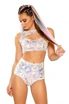 Pailletten Glitzer Top & Shorts Whitel Prism