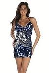 Pailletten Minikleid Valentina - blau/silber