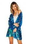 Pailletten Robe Mantel blau