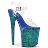 Plateau High Heels Flamingo-808LG blau