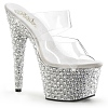 Plateau Pantolette Bejeweled-702PS silber