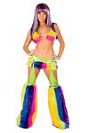 Rainbow Minirock Set mit abnehmbaren Chaps