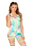 Samt Overall Tie Dye Green