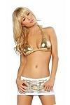 Sexy Netz Minirock Set gold/weiss