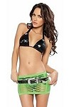 Sexy Netz Minirock Set grün/schwarz