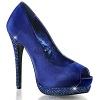 Strass Peep Toe Pumps Bella-12R blau