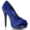 Strass Peep Toe Pumps Bella-12R blau