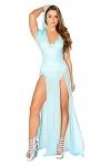 Stretch Mesh Kleid blau