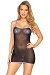Stretch Mesh Minikleid Black Lavender