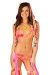 Triangle Bikini Top Neon Flower